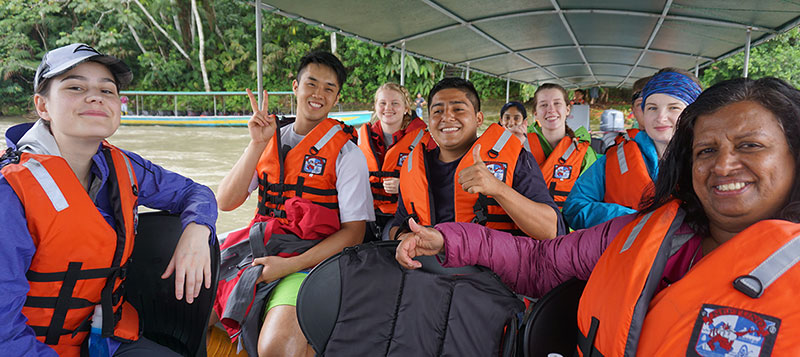 A group of people on a river boat, an excursion through the MEtoWE program