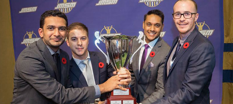 four marauders holding the John Molson trophy
